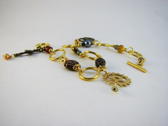 Knitting Row Counter Bracelet : Steampunk knitting row counter bracelet from