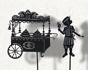 Ice Cream Man / / Laser-cut Shadow Puppets