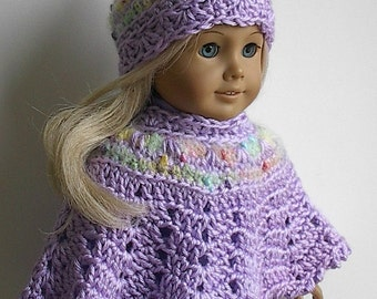 18 Inch Doll Crocheted Poncho and Hat in Lavender with Pastel Multi Trim made to fit the American Girl and other18 Inch Dolls