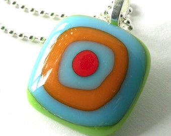 Op Art Fused Glass Pendant - Colorful Bright Pendant on Silver Chain - Reactive Glass - Pop Art