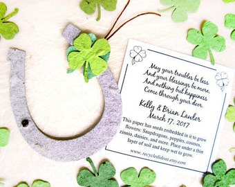 50 Irish Blessing Seed Wedding Favors - Green Seed Paper Clovers and Brown Plantable Paper Horseshoes - Lucky in Love Wedding Favors