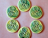 6 Handmade Stoneware Buttons - Triple Spiral in Light Spring Green