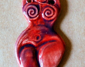Handmade Ceramic Goddess bead - Venus of Willendorf bead in Pomegranate Purple - Blessingway gift