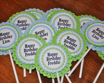 Cupcake Toppers. Cupcake Picks. Green. Light Blue. Set of 12. Personalized