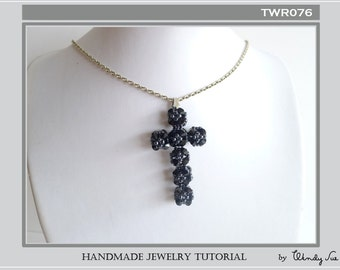 Jet Black Cross Pendant Tutorial TWR076