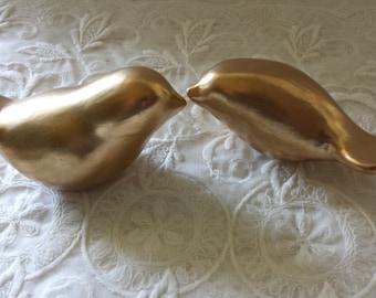 Gold Wedding Cake Topper Love Birds Vintage Birds  Ceramic Wedding Cake Topper  Elegant