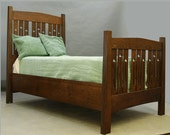 Mackintosh Twin Bed, Quartersawn Oak, Beautiful Cutouts. ON SALE 30% OFF