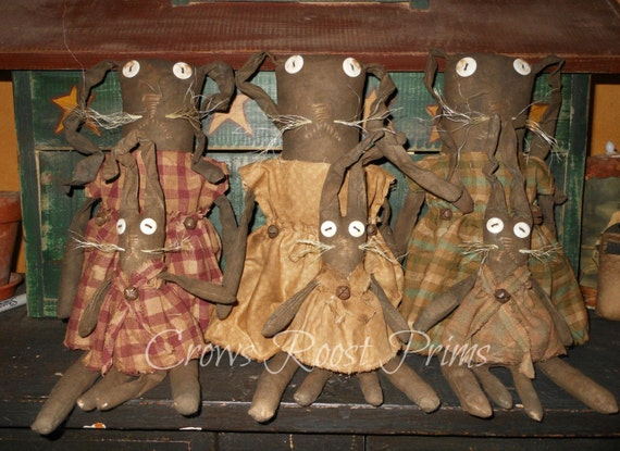 Rabbit  Easter Mothers Day Hilda  Heidi Hare dolls 266e Primitive Bunny Crows Roost Prims epattern  SALE immediate download