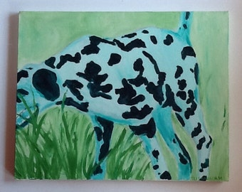 Green Dalmatian In Motion Oil Painting