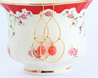 Gold Dangle Earrings, Orange Earrings, Bohemian Gypsy Earrings, Dangle Earrings, Feminine Earrings, Cascading Earrings, Gift For Woman
