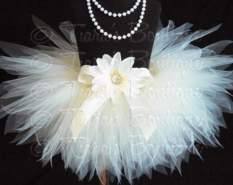 Ivory Baby Tutu, Ivory Tutu, Baby Tutu, Sewn 8'' Infant Pixie Tutu, size Newborn up to 12 months, Photo Prop Tutu