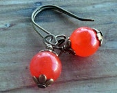 South American Orange Topaz Vintage Style Earrings with Small Bronze Kidney Wires