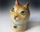 Ceramic Cat Sculpture - Tabby Cat & Rattle