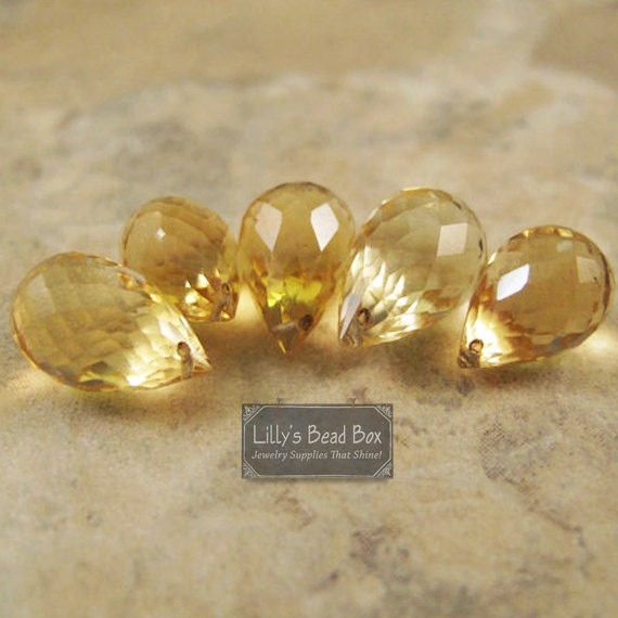 Five Citrine Beads, Large Faceted Briolettes, 5 Stones, 7x5mm-11x6mm, November Birthstone, Jewelry Supplies (L-Ci1)