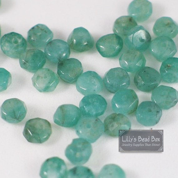 Twenty Emerald Beads, Green Rondelles, 20 Faceted Natural Gemstone Beads, 2mm-3mm, Small Emerald Beads (L-Em1)