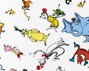 Celebrate Seuss Characters on White from Robert Kaufman, yard