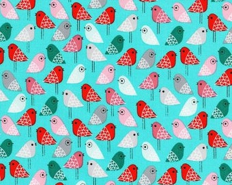 Kokeshi by Suzy Ultman, Birds in Sweet Blue from Robert Kaufman, 1/2 yard