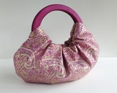 Golden Fuchsia Paisley Hobo Purse - Handmade Handbag with Magenta Pink Wood Handles