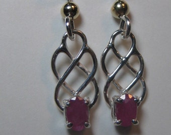 Ruby Earrings ... Sterling Silver  ....       e628