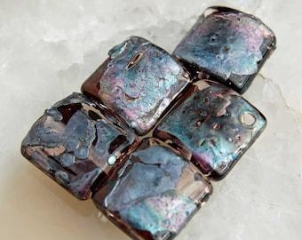 5 Light Rose Metallic Nuggets , Lampwork Beads ,colored gun metal glass beads by Beadfairy Lampwork, SRA
