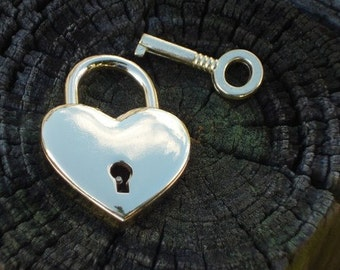 Nickel heart shape lock, Working Padlock with 2 keys, Made in ITALY, can now be engraved!!!!