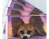 4 x Papillon Butterfly dog greeting cards - waiting for treats