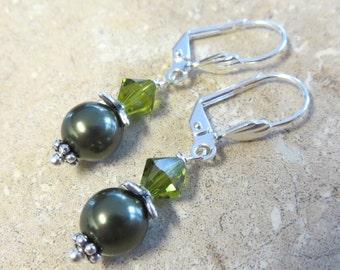 Olive Green Earrings, Pearl Earrings, Swarovski Pearl Earrings,  Flower Earrings, Silver Earrings