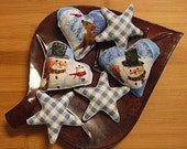 Christmas Snowmen and Deer Heart And Stars Bowl Filler Ornament Decorations