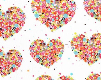 Michael Miller 1 yard- Hearts & Flowers CX4913 Watermelon- BTY - More available-BTY