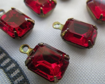Siam Ruby Red Vintage Swarovski Foiled 10x8mm Glass Octagon Drops 6 Pcs