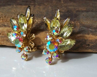 REDUCED Beau Jewels, Vintage Rhinestone Earrings, Costume Jewelry, Clip Ons, Etsy, Etsy Jewelry, Etsy Vintage, Vintage Earrings