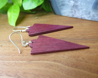 Sale - Arrowhead Purpleheart Wood Purple Earrings - Edgy Pointed Boho -  Purple Heart - Geometric Natural Tribal - Natural Funky Wooden
