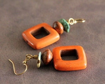 Orange Square Dangle Earrings with Wood & Turquoise Accents