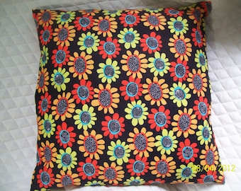 14 inch Pillow Sham, orange, sage, peach floral print
