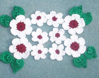 crochet applique cranberry and white flowers with leaves  --  1669