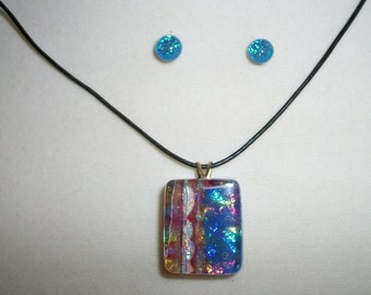 Dichroic glass necklace annd matching earrings