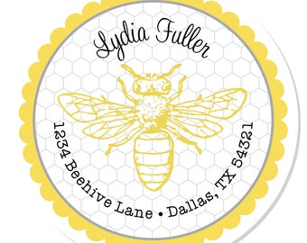 Personalized Labels -- Bumblebee -- Personalized Address Labels, Custom Labels, Party Labels -- Choice of Size