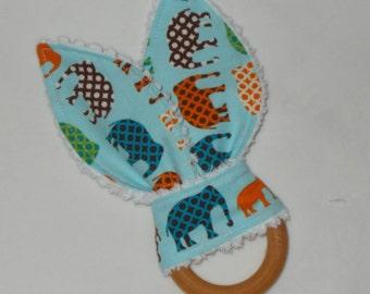 Blue Elephants Rabbit Ears Wooden Teething Ring