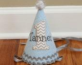Boys 1st Birthday Party Hat - Aqua seersucker stripe, grey chevron - Free personalization