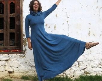 Organic Maxi Dress - Chunky Cowl Babydoll Long Dress ( light hemp and organic cotton knit ) - organic hemp dress
