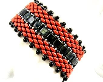 Red Bracelet, Black Bracelet, Wide Bracelet, Colorful Bracelet, Handwoven Bracelet, Black and Red Jewelry