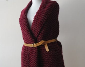 Knitted Burgundy Vest / Knit Elegant Cabled Vest Sweater Oversized Shrug Ready to Ship