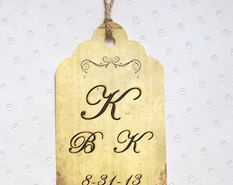 Wedding Wishing Tree Tags - Monogrammed  - Rustic - Vintage - Antique (set of 50)