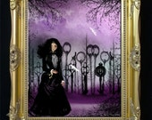 Steampunk Goth Girl Original Digital Painting -- Art Print --- Forest of Keys -- Surreal - Goth Girl - Keys