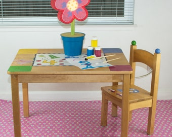 "Splat Mat/Tablecloth ""Pink Lollipop Flowers"" - Laminated Cotton BPA  & PVC Free - Choose Your Size below!"