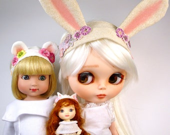 Pattern and Tutorial for Animal Ear Headbands Doll Clothing PDF How to make hair bands for Patsy AE Amelia Thimble Blythe