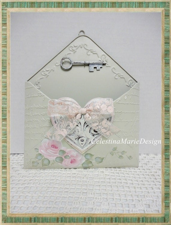 Metal Envelope Wall Decor : Shabby rose metal wall envelope pocket hand painted
