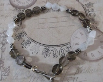 Sterling Silver with Moonstone and Smokey Quartz Gemstones Bracelet