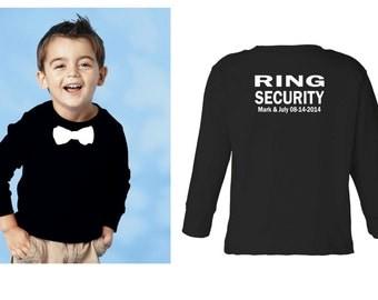 Personalized Ring security shirt Ring Bearer shirt tshirt bowtie long sleeve tee