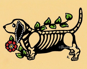 Day of the Dead Dog BASSET Hound Dia de los Muertos Art Print 5 x 7, 8 x 10 or 11 x 14 - Choose your own words - Shelter Donation